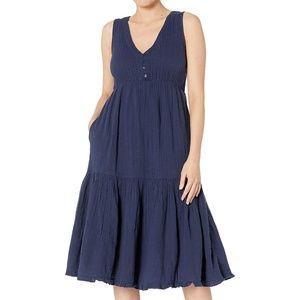 Lucky Brandy Blue Cotton Gauze Dress Size XL NEW!